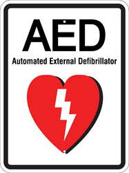AED Automated External Defibrillator Sign (Select Size & Color) (Screen-printed, 8+ Years Life)