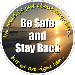 Beach Background - We could be just about anywhere but we are right here. Be Safe and Stay Back. Social Distancing Floor Decal (BUNDLE)