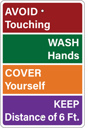 Colorful Procedures Sign (Screen-printed, 8+ Years Life) Notice,spread,infectious,disease,coronavirus,COVID-19,clean hands,soap and water,hand sanitizer,cover nose,cover mouth,tissue,flexed elbow,flex elbow,cough,sneeze,coughing,sneezing,avoid contact,cold or flu-like symptoms,pandemic,sign to post,signs to post,sign,order,purchase,business sign,health notice,proper hygiene,combat spread of virus