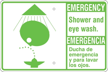 EMERGENCY Eye Wash / Shower Sign (Bilingual, w/ Symbol, Select Wording) (Screen-printed, 8+ Years Life) Emergency eye wash sign,dial 911,eye wash fountain,first aid,safety shower,shower and eye wash,spill response equipment