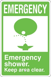 EMERGENCY Eye Wash Sign (w/ Symbol, Select Wording) (Screen-printed, 8+ Years Life) emergency eye wash sign,emergency shower keep area clear,eye wash fountain,eye wash station keep area clear,first aid station,spill response equipment