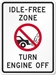 NC Idle-Free Zone Sign (Screen-printed, 8+ Years Life) - PL-1012