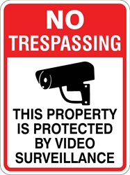 No Trespassing Sign - This Property/Video Surv. (w/ Symbol) (Screen-printed, 8+ Years Life) All Activities Monitored by Video Camera,Area Monitored by Video Camera,Monitored by Video Camera,This Property Protected by Video Surveillance,no trespassing sign,metal no trespassing sign,aluminum no trespassing sign,polymetal no trespassing sign,parking lot no trespassing sign,cheap no trespassing sign,inexpensive no trespassing sign,best no trespassing sign,best value no trespassing sign,good value no trespassing sign,small no trespassing sign,large no trespassing sign,screen-printed no trespassing sign,long life no trespassing sign,long lasting no trespassing sign,private property no trespassing sign,quality no trespassing sign,12 18 24 30 inch no trespassing sign,high reflective no trespassing sign,high intensity no trespassing sign