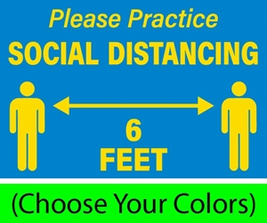 "Please Practice Social Distancing, 12""w x 9""h, Decals for Hard Floors (BUNDLE OF 8) Please Practice SOCIAL DISTANCING 6 FEET"