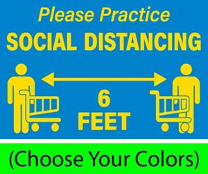 "Please Practice Social Distancing with Grocery Cart Symbols, 12""w x 9""h, Decals for Hard Floors (BUNDLE OF 8) Please Practice SOCIAL DISTANCING 6 FEET"