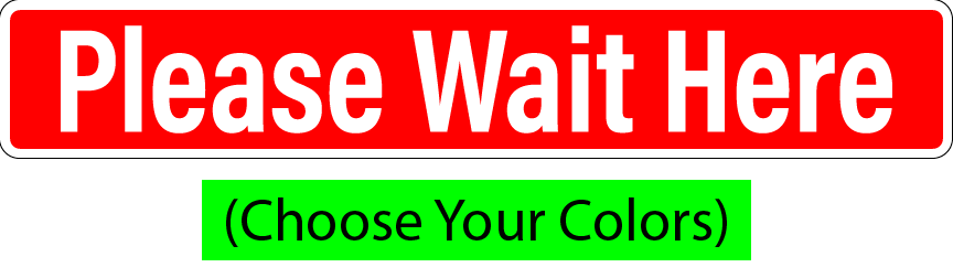 "Please Wait Here 12""w x 2""h (Bundles of 12, 24, 48, or 96 Decals) SAFE SOCIAL DISTANCE"