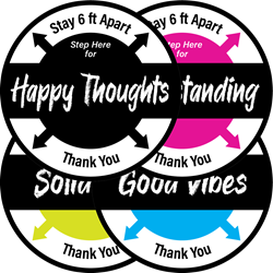 Stay 6 ft Apart, Hard Floor Decals, with FEEL GOOD WORDS (BUNDLE OF 8, 12-INCH DECALS) feel good words, compassion, understanding, positivity, peace, joy, happy thoughts, good vibes, solidarity, SOCIAL DISTANCING X, Stay 6 ft apart