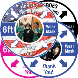 YOUR IMAGE - HEROES Work Here, Thank You! 6 ft, Wear Mask (BUNDLE OF 4, 12 inch FLOOR DECALS) Non-Slip Vinyl