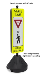 Portable Rolling Sign Base with Pole portable sign base, portable sign base with pole, rolling sign base, rolling sign base with pole, sign base with ballast, sign accessories,