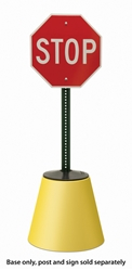 Plastic Fillable Post Protector Base (yellow) Free-standing sign base, sign base install over existing, fillable post protector, sign pole accessories, sign post accessories, sign post base, sign pole base