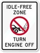 NC Idle-Free Zone Sign (Screen-printed, 8+ Years Life)