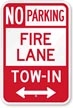 NC No Parking - Fire Lane - Tow-In