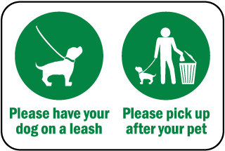 Please leash - pick up Sign (with Symbols) (Screen-printed, 8+ Years Life)